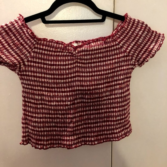 Urban Outfitters Tops - NEVER BEEN WORN Plaid Off Shoulder Ruched Top